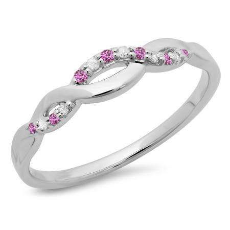 0.10 Carat (ctw) 10K White Gold Round Cut Pink Sapphire & White Diamond Ladies Bridal Anniversary Wedding Band Stackable Swirl Ring