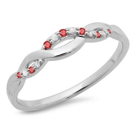 0.10 Carat (ctw) 10K White Gold Round Cut Ruby & White Diamond Ladies Bridal Anniversary Wedding Band Stackable Swirl Ring