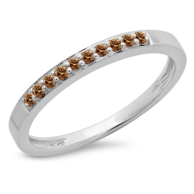 0.15 Carat (ctw) 10K White Gold Round Champagne Diamond Ladies Anniversary Wedding Band Stackable Ring