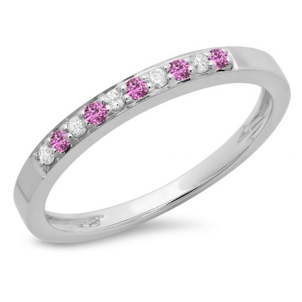 0.15 Carat (ctw) 10K White Gold Round Pink Sapphire & White Diamond Ladies Anniversary Wedding Band Stackable Ring