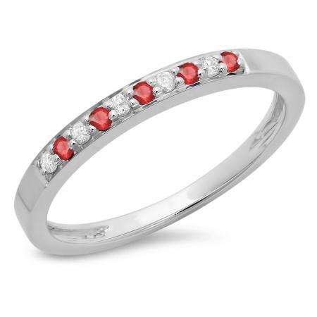 0.15 Carat (ctw) 10K White Gold Round Ruby & White Diamond Ladies Anniversary Wedding Band Stackable Ring