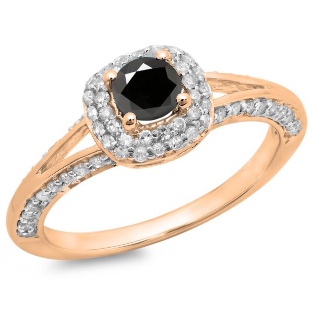 0.90 Carat (ctw) 14K Rose Gold Round Cut Black & White Diamond Ladies Bridal Split Shank Halo Style Engagement Ring