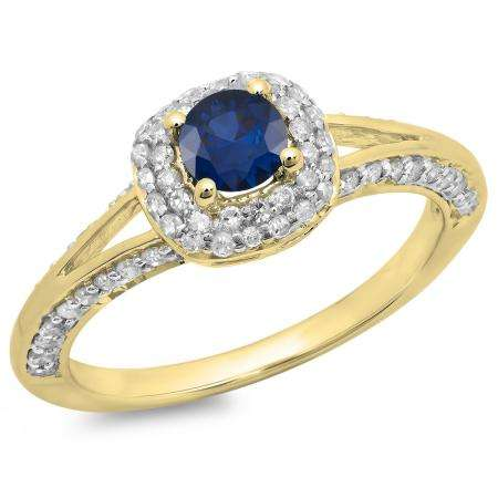 0.90 Carat (ctw) 10K Yellow Gold Round Cut Blue Sapphire & White Diamond Ladies Bridal Split Shank Halo Style Engagement Ring