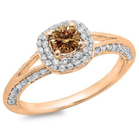 0.90 Carat (ctw) 14K Rose Gold Round Cut Champagne & White Diamond Ladies Bridal Split Shank Halo Style Engagement Ring