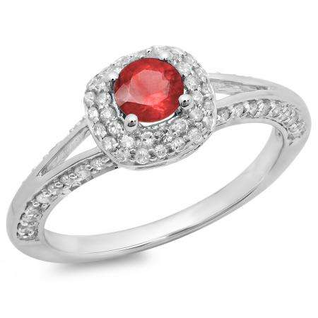 0.90 Carat (ctw) 14K White Gold Round Cut Ruby & White Diamond Ladies Bridal Split Shank Halo Style Engagement Ring