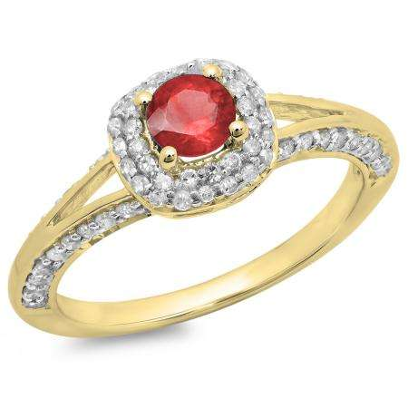 0.90 Carat (ctw) 14K Yellow Gold Round Cut Ruby & White Diamond Ladies Bridal Split Shank Halo Style Engagement Ring