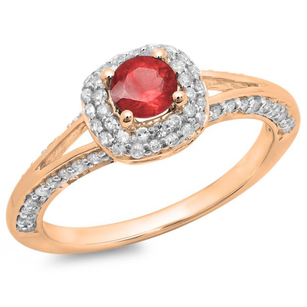 0.90 Carat (ctw) 18K Rose Gold Round Cut Ruby & White Diamond Ladies Bridal Split Shank Halo Style Engagement Ring