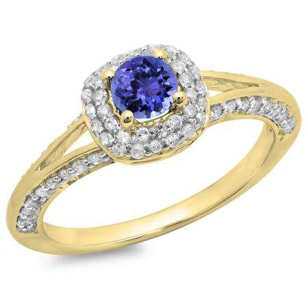 0.90 Carat (ctw) 18K Yellow Gold Round Cut Tanzanite & White Diamond Ladies Bridal Split Shank Halo Style Engagement Ring