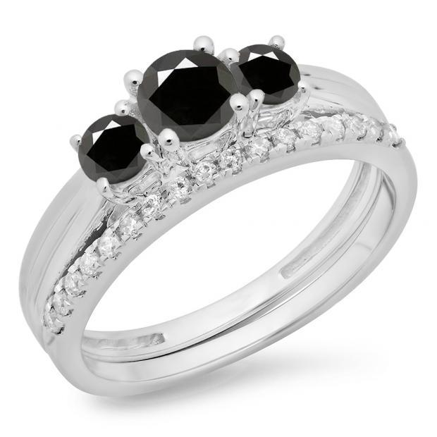 1.00 Carat (ctw) 10K White Gold Round Cut Black & White Diamond Ladies Bridal 3 Stone Engagement Ring Matching Band Set 1 CT