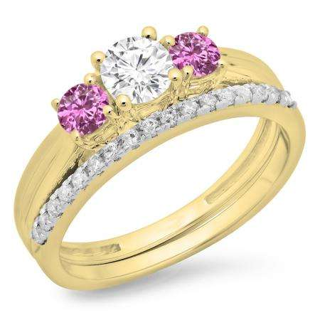 1.00 Carat (ctw) 18K Yellow Gold Round Cut Pink Sapphire & White Diamond Ladies Bridal 3 Stone Engagement Ring Matching Band Set 1 CT