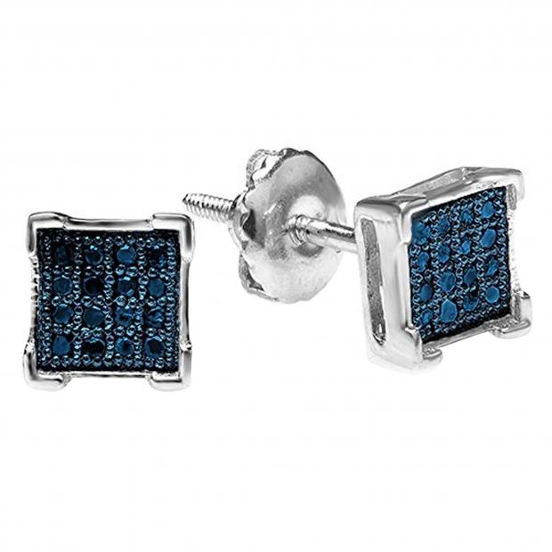 0.05 Carat (ctw) 10K White Gold Round Blue Diamond V Prong Square Shape Men