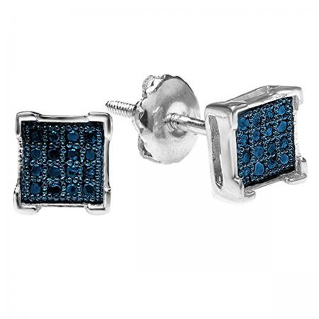 0.05 Carat (ctw) Platinum Plated Sterling Silver Round Blue Diamond V Prong Square Shape Men