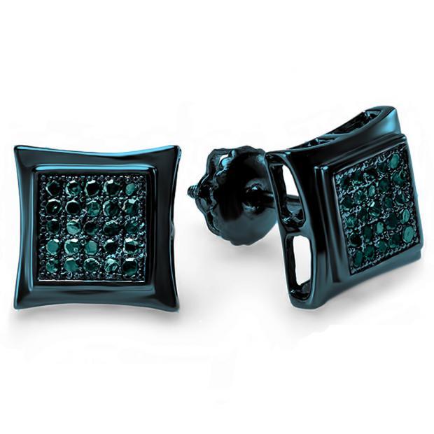 0.15 Carat (ctw) Blue Rhodium Plated Sterling Silver Real Blue Diamond Kite Shape Mens Hip Hop Iced Stud Earrings