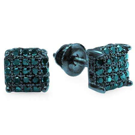 0.33 Carat (ctw) Blue Rhodium Plated Sterling Silver Real Blue Diamond Ice Cube Dice Shape Mens Hip Hop Iced Stud Earrings 1/3 CT