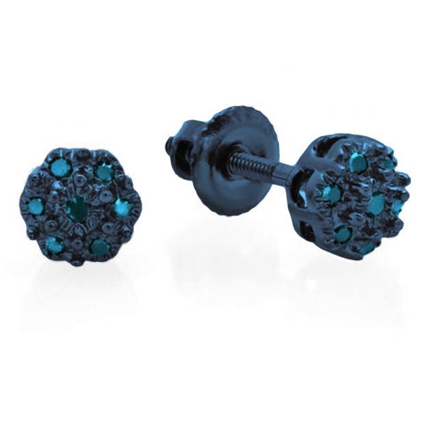 0.06 Carat (ctw) Blue Rhodium Plated 10K White Gold Round Blue Diamond Ladies Cluster Flower Stud Earrings