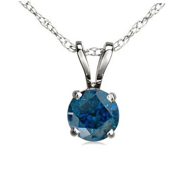 0.50 Carat (ctw) 10K White Gold Round Blue Diamond Ladies Solitaire Pendant 1/2 CT