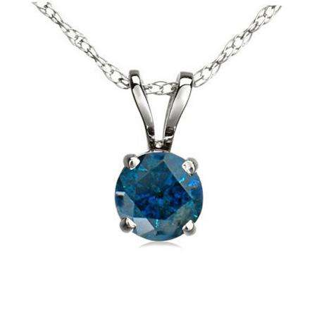 0.50 Carat (ctw) 14K White Gold Round Blue Diamond Ladies Solitaire Pendant 1/2 CT