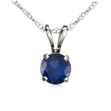 0.50 Carat (ctw) 10K White Gold Round Blue Sapphire Ladies Solitaire Pendant 1/2 CT