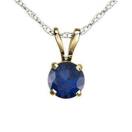 0.50 Carat (ctw) 10K Yellow Gold Round Blue Sapphire Ladies Solitaire Pendant 1/2 CT