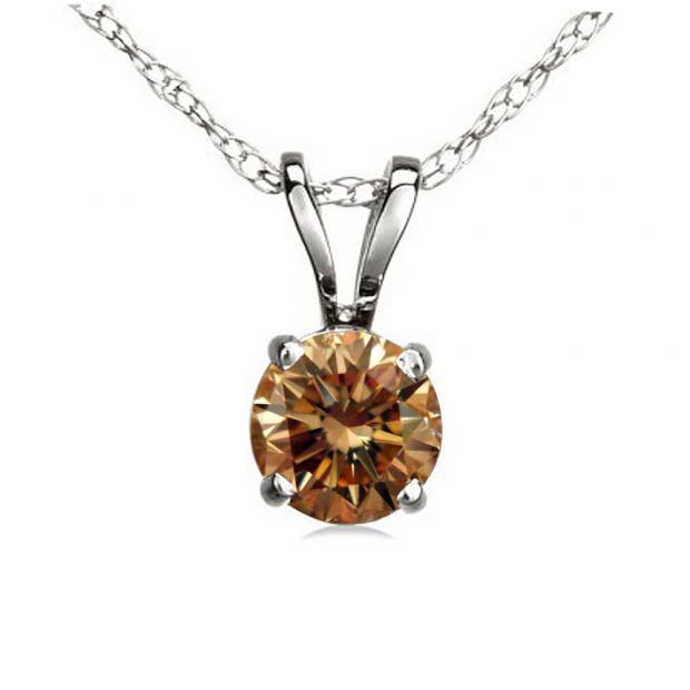 0.50 Carat (ctw) 18K White Gold Round Champagne Diamond Ladies Solitaire Pendant 1/2 CT