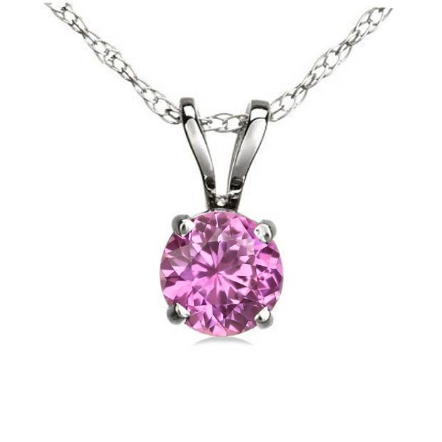 0.50 Carat (ctw) 10K White Gold Round Pink Sapphire Ladies Solitaire Pendant 1/2 CT