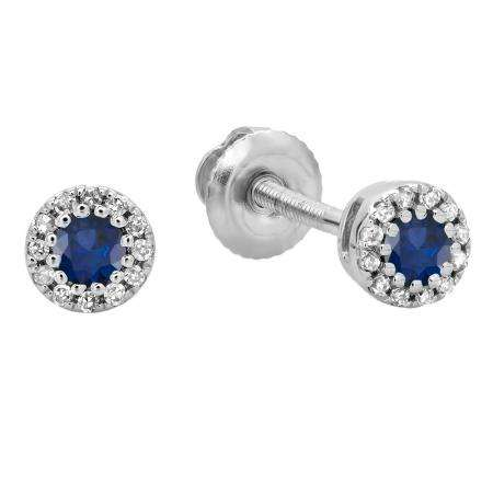 0.20 Carat (ctw) 10K White Gold Round Blue Sapphire & White Diamond Ladies Cluster Halo Style Stud Earrings 1/5 CT