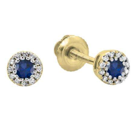 0.20 Carat (ctw) 10K Yellow Gold Round Blue Sapphire & White Diamond Ladies Cluster Halo Style Stud Earrings 1/5 CT