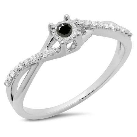 0.20 Carat (ctw) 10K White Gold Round Black & White Diamond Ladies Swirl Split Shank Promise Engagement Ring 1/5 CT