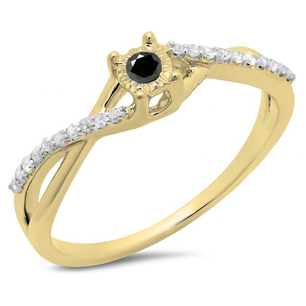 0.20 Carat (ctw) 10K Yellow Gold Round Black & White Diamond Ladies Swirl Split Shank Promise Engagement Ring 1/5 CT