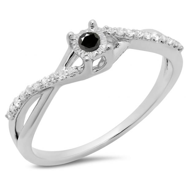 0.20 Carat (ctw) 14K White Gold Round Black & White Diamond Ladies Swirl Split Shank Promise Engagement Ring 1/5 CT