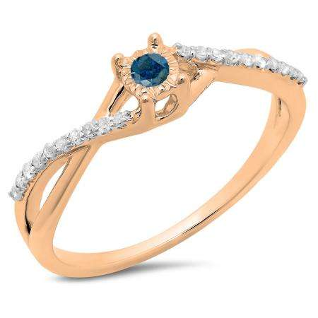 0.20 Carat (ctw) 10K Rose Gold Round Blue & White Diamond Ladies Swirl Split Shank Promise Engagement Ring 1/5 CT