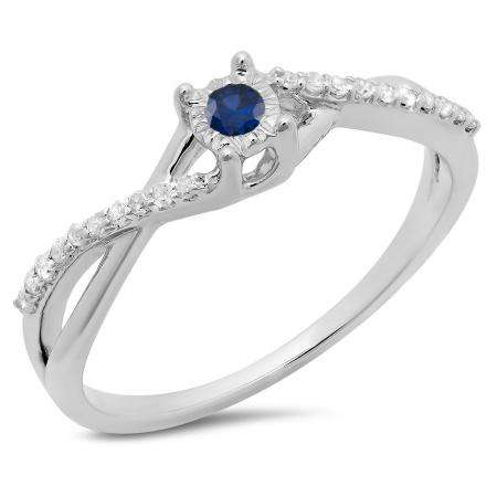 0.20 Carat (ctw) 10K White Gold Round Blue Sapphire & White Diamond Ladies Swirl Split Shank Promise Engagement Ring 1/5 CT