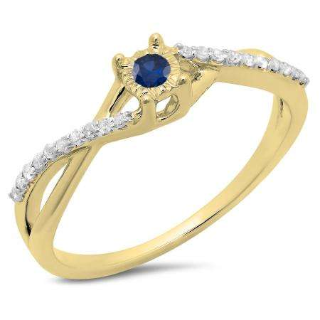 0.20 Carat (ctw) 10K Yellow Gold Round Blue Sapphire & White Diamond Ladies Swirl Split Shank Promise Engagement Ring 1/5 CT
