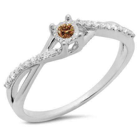 0.20 Carat (ctw) 10K White Gold Round Champagne & White Diamond Ladies Swirl Split Shank Promise Engagement Ring 1/5 CT