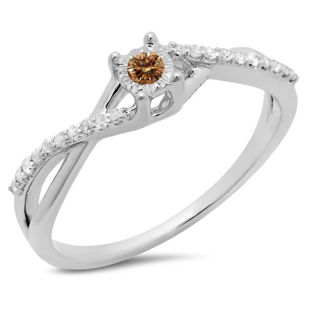 0.20 Carat (ctw) 18K White Gold Round Champagne & White Diamond Ladies Swirl Split Shank Promise Engagement Ring 1/5 CT