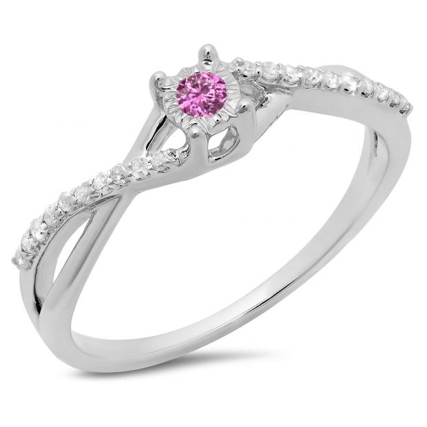 0.20 Carat (ctw) 10K White Gold Round Pink Sapphire & White Diamond Ladies Swirl Split Shank Promise Engagement Ring 1/5 CT