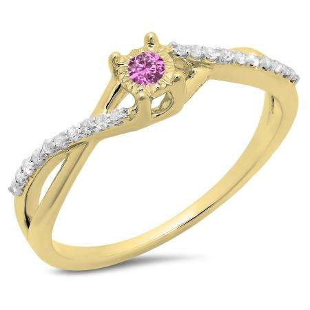 0.20 Carat (ctw) 10K Yellow Gold Round Pink Sapphire & White Diamond Ladies Swirl Split Shank Promise Engagement Ring 1/5 CT