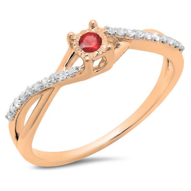 0.20 Carat (ctw) 10K Rose Gold Round Ruby & White Diamond Ladies Swirl Split Shank Promise Engagement Ring 1/5 CT