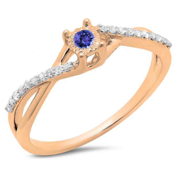 0.20 Carat (ctw) 18K Rose Gold Round Tanzanite & White Diamond Ladies Swirl Split Shank Promise Engagement Ring 1/5 CT