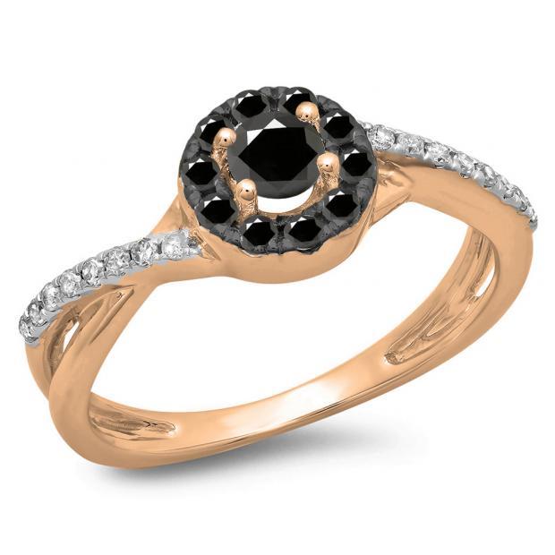 0.50 Carat (ctw) 18K Rose Gold Round Cut Black & White Diamond Ladies Swirl Split Shank Bridal Halo Engagement Ring 1/2 CT