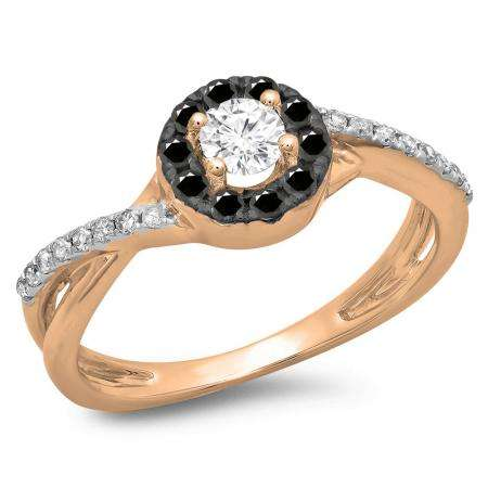 0.50 Carat (ctw) 14K Rose Gold Round Cut Black & White Diamond Ladies Swirl Split Shank Bridal Halo Engagement Ring 1/2 CT