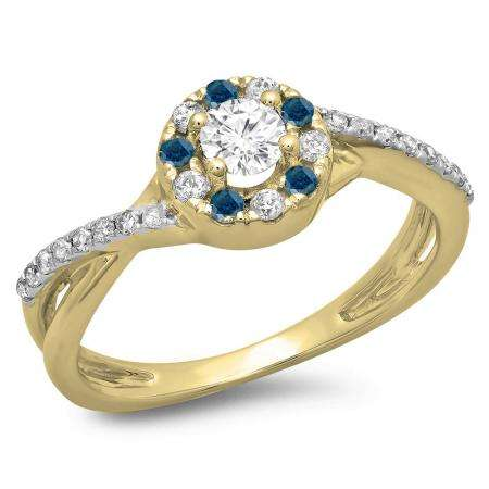 0.50 Carat (ctw) 14K Yellow Gold Round Cut Blue & White Diamond Ladies Swirl Split Shank Bridal Halo Engagement Ring 1/2 CT