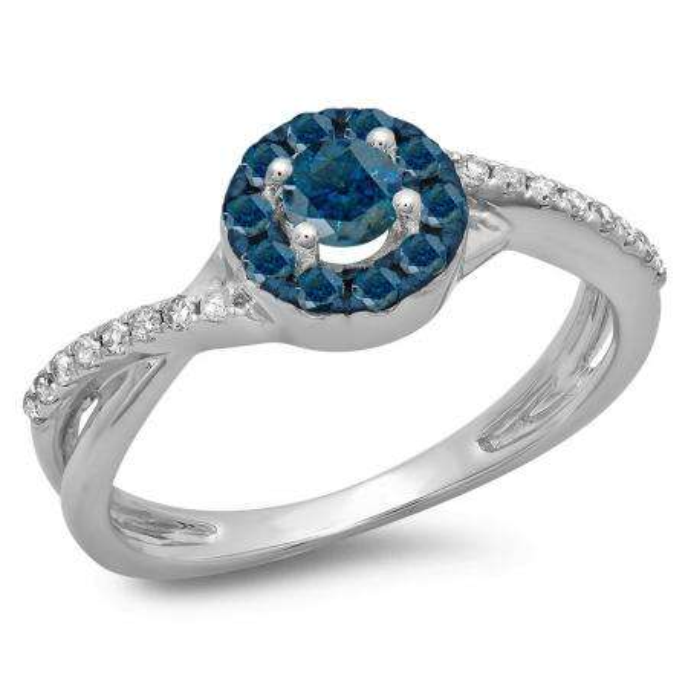 0.50 Carat (ctw) 18K White Gold Round Cut Blue & White Diamond Ladies Swirl Split Shank Bridal Halo Engagement Ring 1/2 CT