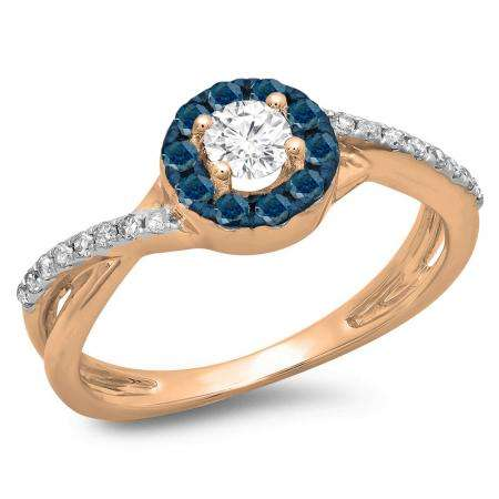 0.50 Carat (ctw) 10K Rose Gold Round Cut Blue & White Diamond Ladies Swirl Split Shank Bridal Halo Engagement Ring 1/2 CT
