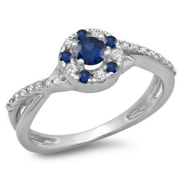 0.50 Carat (ctw) 18K White Gold Round Cut Blue Sapphire & White Diamond Ladies Swirl Split Shank Bridal Halo Engagement Ring 1/2 CT