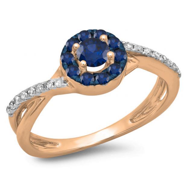 0.50 Carat (ctw) 14K Rose Gold Round Cut Blue Sapphire & White Diamond Ladies Swirl Split Shank Bridal Halo Engagement Ring 1/2 CT
