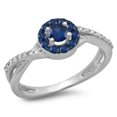 0.50 Carat (ctw) 18K White Gold Round Cut Blue Sapphire & White Diamond Ladies Swirl Split Shank Bridal Halo Engagement Ring 1/2 CT