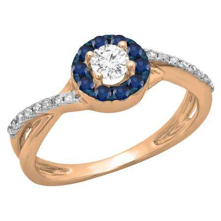 0.50 Carat (ctw) 14K Rose Gold Round Cut Blue Sapphire & White Diamond Ladies Swirl Split Shank Bridal Halo Engagement Ring 1/2 CT