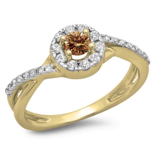 0.50 Carat (ctw) 18K Yellow Gold Round Cut Champagne & White Diamond Ladies Swirl Split Shank Bridal Halo Engagement Ring 1/2 CT