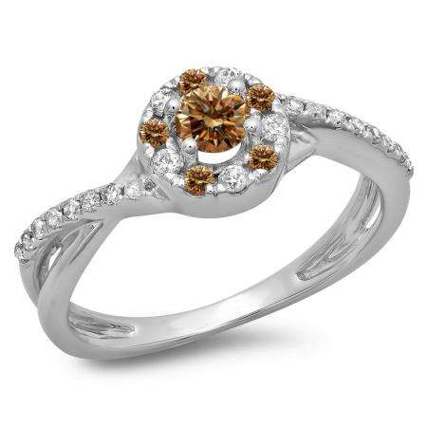 0.50 Carat (ctw) 14K White Gold Round Cut Champagne & White Diamond Ladies Swirl Split Shank Bridal Halo Engagement Ring 1/2 CT